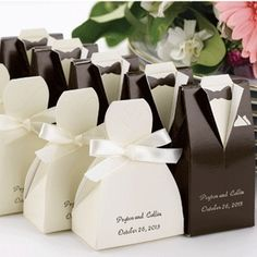 Personalized Tuxedo & Wedding Gown Favor Boxes