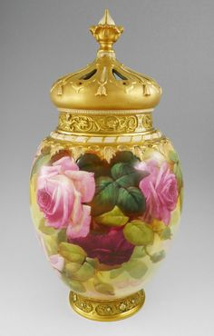 ROYAL WORCHESTER COVERED POTPOURRI ROSE JAR : Handpainted by Walter Sedgeley - Burchard Galleries