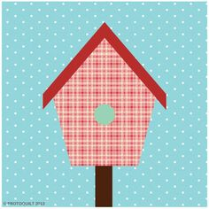 Free paper pieced quilt pattern Bird house by ProtoQuilt