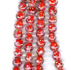 Red Round Lampwork beads by sissiessupplies on Etsy, $1.00