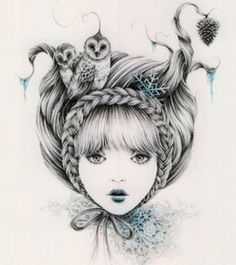 love this artist for potential future ink...Courtney Brims, Owl Braids