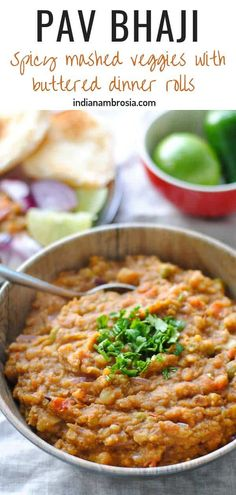 Mumbai pav bhaji is an extremely popular, very delicious Indian street food. This is a homemade recipe with mixed vegeta Indian Potato Recipes, Indian Food Recipes, Vegetarian Recipes, Healthy Recipes, Delicious Recipes, Cooking Recipes, Tasty, East Indian Food, Indian Street Food