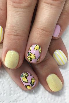 32 Summer and Spring Nails Designs and Art Ideas Lemon Nail Art Design with pink and pastels Best Nail Art Designs, Nail Designs Spring, Toe Nail Designs, Fruit Nail Designs, Spring Nail Art, Spring Nails, Summer Nails, Nail Art Set, Cool Nail Art