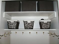 Coat closet with hooks instead of rod! This one actually looks like our closet! Haha!
