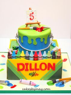 Arts and Crafts Crayons Cake