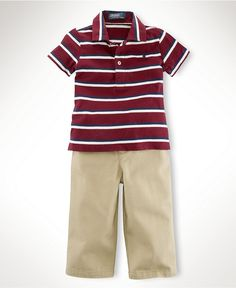 Ralph Lauren Baby Set, Baby Boys Striped Polo and Chino Pants - Kids Baby Boy - Macy's