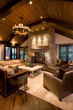 46 Stunning Rustic Living Room Design Ideas design home design Style At Home, Rustic Interiors, Log Homes, Home Living Room, Living Area, Living Room Ceiling Ideas, Big Living Rooms, Bedroom Ceiling, Beautiful Living Rooms