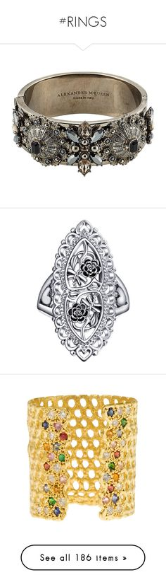 """""""#RINGS"""" by adda21 ❤ liked on Polyvore featuring jewelry, rings, multicolored, tri color ring, gothic rings, goth jewelry, multi colored jewelry, multi colored rings, filigree jewelry and blossom jewelry"""