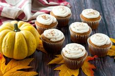 Delicious Pumpkin Cupcakes with  Homemade Frosting. I can't believe it's almost fall! It feels like summer just started, but when I look outside I see leaves starting to fall! But that's okay, because fall means it's time for one of my favorite foods- pumpkin! I love pretty much everything pumpkin, but I particularly like how … Pumpkin Spice Cupcakes, Pumpkin Dessert, Pumpkin Pie Spice, Mini Cupcakes, Cupcake Cakes, Store Bought Frosting, Homemade Pumpkin Pie, Cupcakes With Cream Cheese Frosting, Homemade Frosting