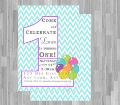 1st Birthday Girl Invitation Chevron and by SweetDuoDesign on Etsy, $8.00