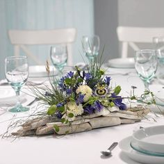 Purples, whites and greens wood arrangement Beach Wedding Centerpieces, Floral Centerpieces, Centrepieces, Modern Flower Arrangements, Table Arrangements, Deco Floral, Arte Floral, Floral Design, Beach Flowers