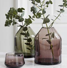 Beautiful @bynordcopenhagen vases in smoke and green back in stock. #danishmade #bronte