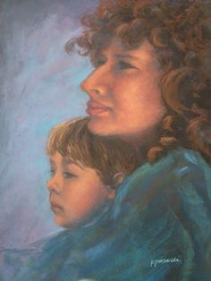 pastel paintings, pastel portraits, mother and son, fine art, artists