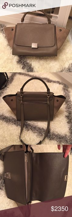 Celine trapeze (authentic) Color souris. Small size. Pebbled leather with suede wings. Great neutral. Like new. Carried 2-3x. Purchased from Celine store Beverly Hills rodeo last year. Will come with tags. Price firm on posh mark! Celine Bags Shoulder Bags