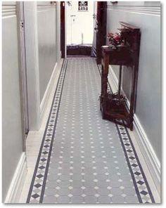 احدث ديكورات مدخل المنزل Carpets of tiles in vestibules - décoration intérieur Edwardian Hallway, Edwardian Haus, Hall Tiles, Tiled Hallway, Attic Rooms, Attic Spaces, Attic Bathroom, Attic Apartment, Attic Renovation