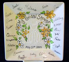 Using a white paint pen adds a subtle and beautiful quality to bridal plates - bridal shower signature ceramic plate