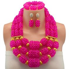 Fuchsia Charming Nigerian Wedding African Beads Bridal Jewelry Set Crystal Beads Jewelry Set dubai women necklace set #Affiliate