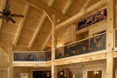 Product Photo Gallery | Timberframe Home with Custom Balcony Railings | Photo by Tad Merrick