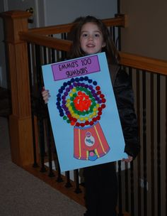 100 days project -We did this except we used real gum balls and some pennies. Jessica's teacher loved it. Very simple & easy.
