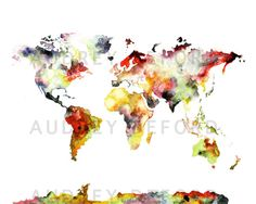 Multiple Sizes Watercolor Map Print World Map by AudreyDeFord