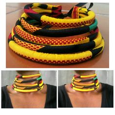 African Print Necklace Chunky Statement Necklace Multistrand
