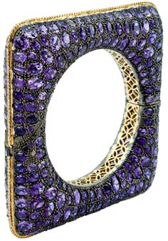 Amethyst and Diamond Square Bracelet. Set with 153.12 carats of amethyst and 2.85 carats of diamonds. Pretty. . .