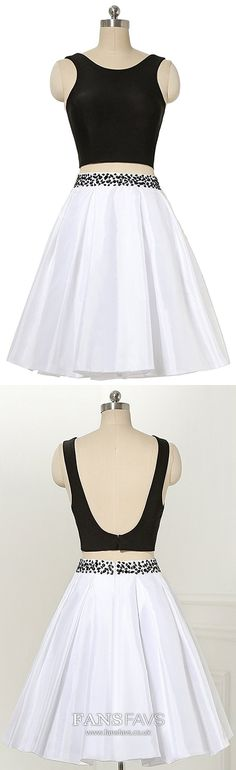Black Homecoming Dresses White, Two Piece Prom Dresses Short, Open Back Sweet Sixteen Dresses A Line, Beading Sweet 16 Satin Dresses Short, Modest Dresses, Trendy Dresses, Cute Dresses, Beautiful Dresses, Formal Dresses, Vintage Homecoming Dresses, Backless Prom Dresses, Pageant Dresses