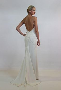 Simple yet elegant #Nicole_Miller wedding dress | Backless Dress with Sexy Details