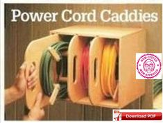Power cord organizer plan / Power cord caddy plan / Power cord caddy plan / Power cord organizer plan / Power cord cadd plan / PDF plan / DIY / pdf How do I create Garage Organization Tips, Garage Tool Storage, Cord Storage, Workshop Storage, Garage Tools, Diy Storage, Storage Caddy, Storage Hacks, Workshop Ideas