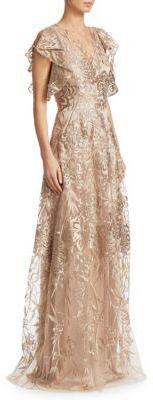 David Meister Floral Floor-Length Gown