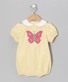 Look what I found on #zulily! Yellow Stripe Butterfly Puff-Sleeve Bubble Bodysuit - Infant #zulilyfinds