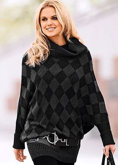 $29.00 Black and grey argyle print sweater w/ cowl neck and dolman sleeves