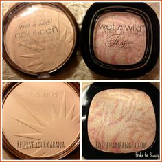 Wet n Wild highlights - Reserve Your Cabana (Color Icon Bronzer) and Rosé Champagne Glow (Fergie line)
