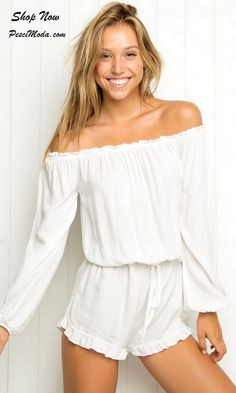 Off Shoulder Casual White Romper for Woman / Teens. Shop Online Women/Teens…