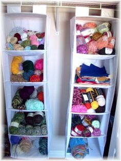 Use shoe organizers to keep yarn tidy. This is a great way to get that #craft room organized!