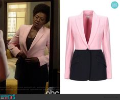 Annalise's pink two tone blazer on How to Get Away with Murder Clothes Women, Fashion Clothes, Fashion Outfits, How To Get Away, Other Outfits, Jacket Buttons, Lace Sleeves, Formal Wear, Alexander Mcqueen