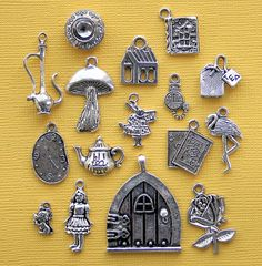 Alice in Wonderland Charm Collection Antique Tibetan Silver Tone 15 Charms - COL273