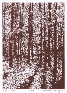 Deep Wood Falls, linocut print by William Hays                                                                                                                                                                                 More