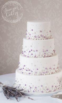 Modern Pearl Wedding Cake by Juniper Cakery                              …
