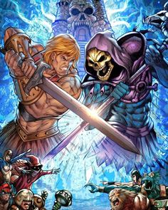 He-man vs Skeletor Old School Cartoons, 80 Cartoons, He Man Tattoo, Comic Books Art, Comic Art, He Man Thundercats, Arte Dc Comics, Universe Art, Comic Games