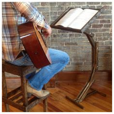Adjustable Wooden Music Stand by AWalkThroughTheWoods on Etsy