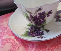 """Collectible Shelley China """"Violets"""" Teacup and Saucer"""