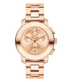 Movado Watch, Swiss Chronograph Bold Medium Rose Gold Tone Stainless Steel Bracelet 38mm 3600077 - Movado - Jewelry & Watches - Macy's