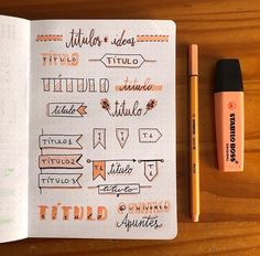 Ultimate List of Bullet Journal Ideas: 101 Inspiring Concepts to Try Today (Part - Simple Life of a Lady Bullet Journal Headers, Bullet Journal Mood, Bullet Journal School, Bullet Journal Inspiration, Lettering Brush, Hand Lettering Fonts, Lettering Tutorial, Stabilo Boss, Journal Pages