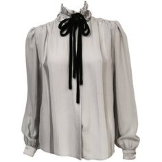 Pre-owned Vintage Valentino Striped Silk Jacquard Blouse ($695) ❤ liked on Polyvore featuring tops, blouses, ruched blouse, striped blouse, long silk blouse, silk tie blouse and high neck top