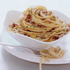 Bucatini Carbonara   Italian carbonara is famously rich, combining pancetta or guanciale (cured pork jowl), egg yolks and cheese. At Holeman and Finch, Linton Hopkins adds his own Southern accent to the dish with house-cured pork and local eggs.