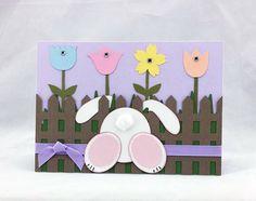 Handmade Spring Bunny Card Purple by CraftyGalCards on Etsy