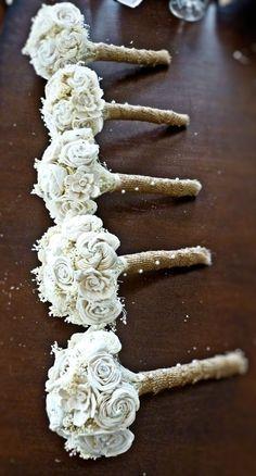 Custom Handmade Ivory Wedding Bouquet Set- Alternative Flower Bouquet, Bridesmaid Bouquets, Keepsake Bouquets. $250.00, via Etsy.