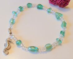 Aqua Beaded Ankle Bracelet with Seahorse Charm