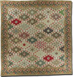 Diamond Field quilt, maker unknown, probably made in New England, circa 1830-1850, 124 x 106 in, IQSCM 2006.043.0074